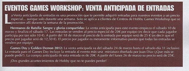 Aviso sobre eventos Games Workshop