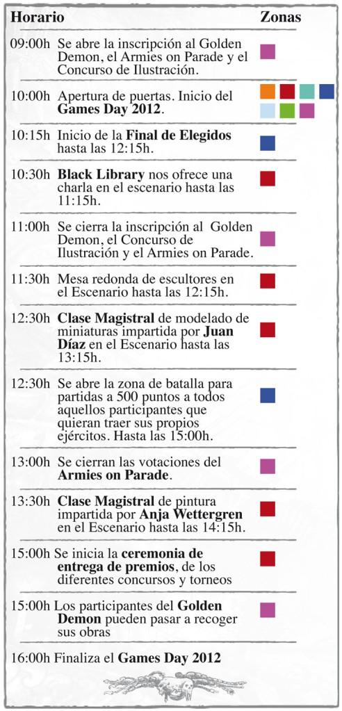 Horario Games Day 2012